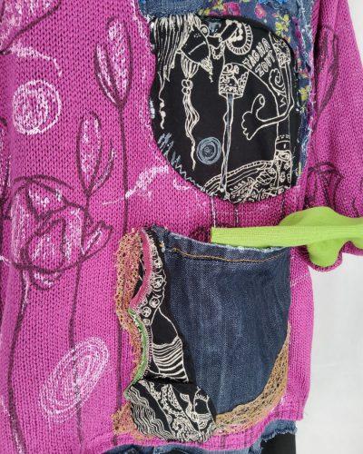 Sweter jagodowy kwietnik