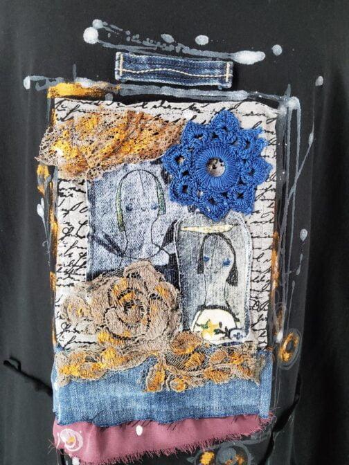 Obłędna sukienka z rękawem 3/4 z dużą, unikatową aplikacją, do tego trochę złota, jeansu... Rozmiar XL 110 cm w biuście Długość 92 cm