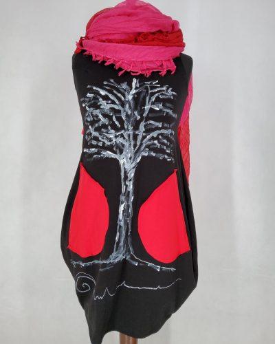 Sukienka czarna z drzewem